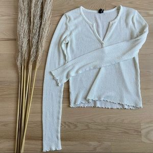 Out From Under Cream Waffle Henley Top | size Medium